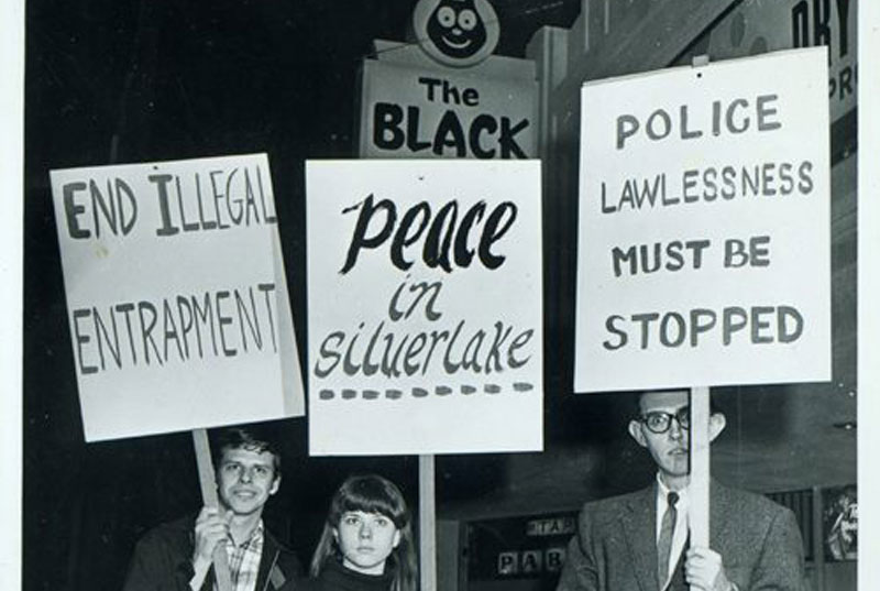 Protesters standing in front of the Black Cat Tavern, 1967