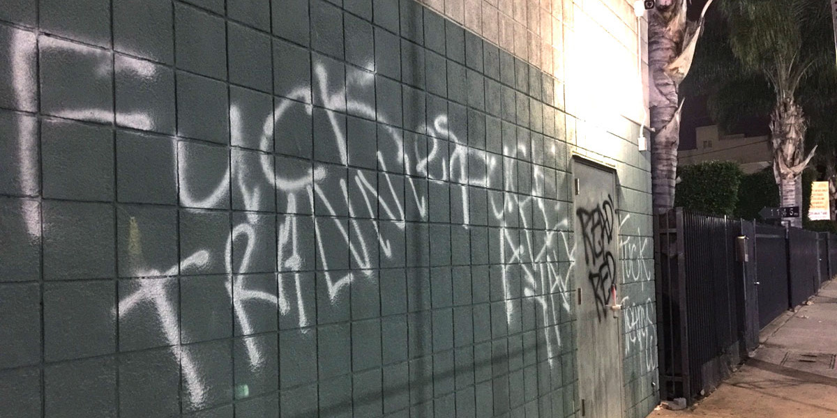 """Fuck Trannies. Fuck all y'all,"" was spray painted on the LA LGBT Center."